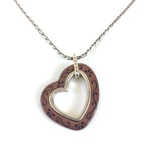 Authentic Brighton open heart wood carved necklace